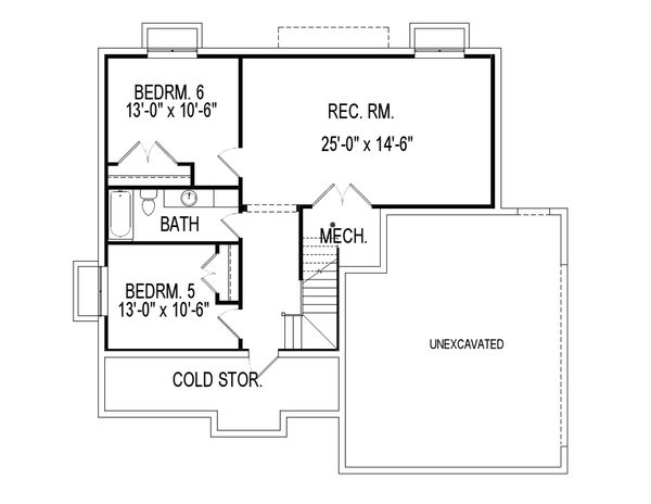 Traditional Floor Plan - Lower Floor Plan Plan #920-27
