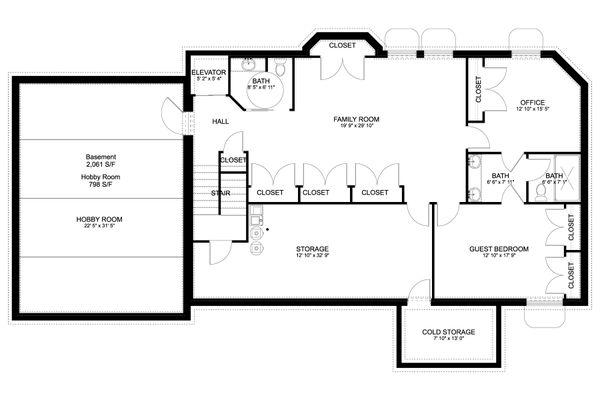 Craftsman Floor Plan - Lower Floor Plan #1060-53