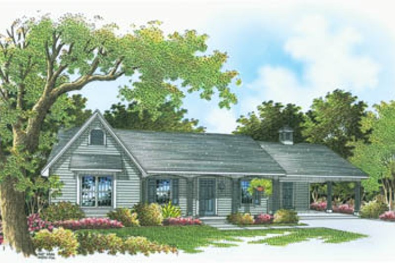 Ranch Style House Plan - 3 Beds 2 Baths 1375 Sq/Ft Plan #45-108 Exterior - Front Elevation