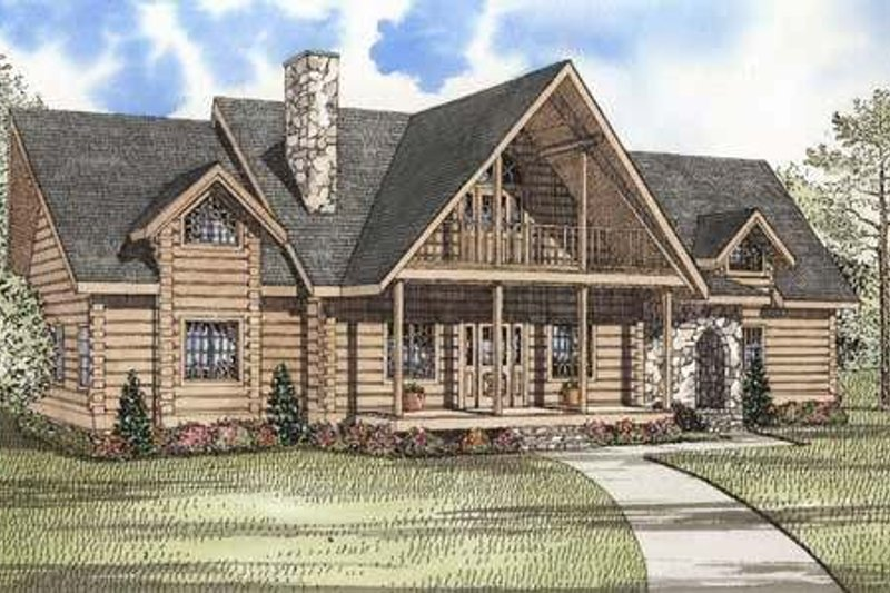 Log Style House Plan - 3 Beds 4 Baths 3284 Sq/Ft Plan #17-493 Exterior - Front Elevation