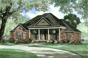 Classical Exterior - Front Elevation Plan #17-1153