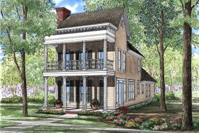 Southern Style House Plan - 3 Beds 2.5 Baths 2177 Sq/Ft Plan #17-255 Exterior - Front Elevation