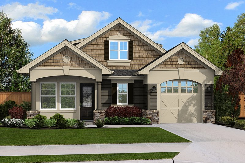 Traditional Style House Plan - 2 Beds 2 Baths 790 Sq/Ft Plan #132-220 Exterior - Front Elevation
