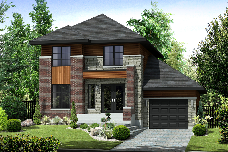 Contemporary Style House Plan - 3 Beds 1 Baths 1464 Sq/Ft Plan #25-4313 Exterior - Front Elevation