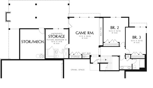 Craftsman Floor Plan - Lower Floor Plan Plan #48-543