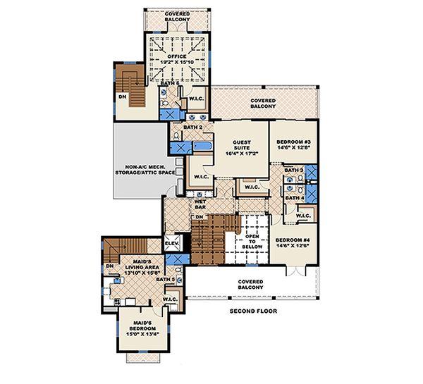Southern Floor Plan - Upper Floor Plan Plan #27-477