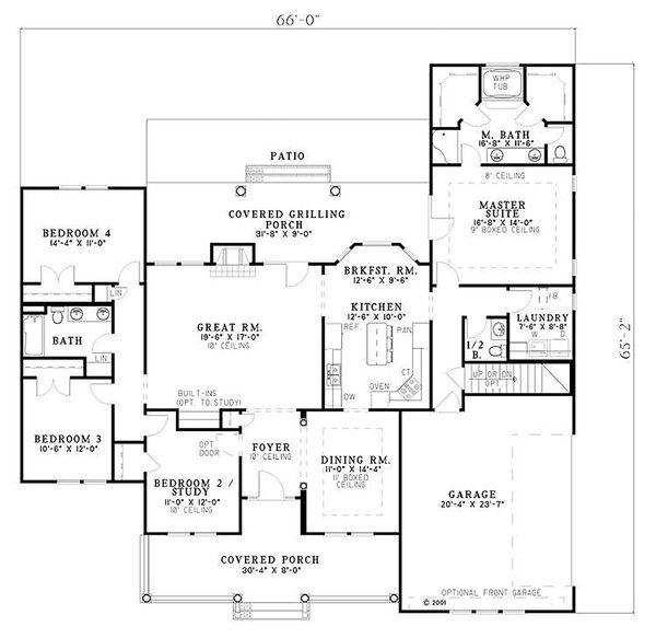 Country Floor Plan - Main Floor Plan Plan #17-614