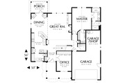 Craftsman Style House Plan - 3 Beds 2.5 Baths 2120 Sq/Ft Plan #48-117 Floor Plan - Main Floor Plan