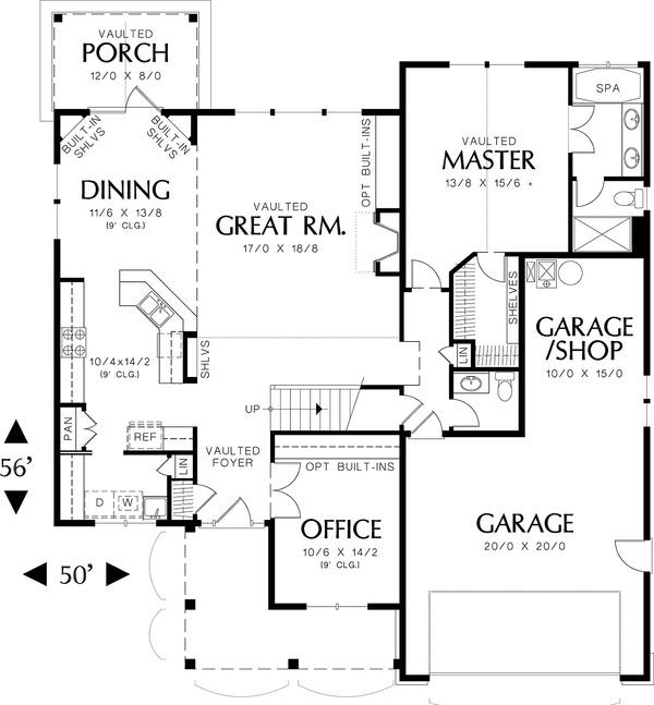 Main Level Floor Plan - 2100 square foot Craftsman home