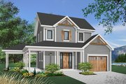 Country Style House Plan - 2 Beds 1.5 Baths 1252 Sq/Ft Plan #23-2164 Exterior - Front Elevation
