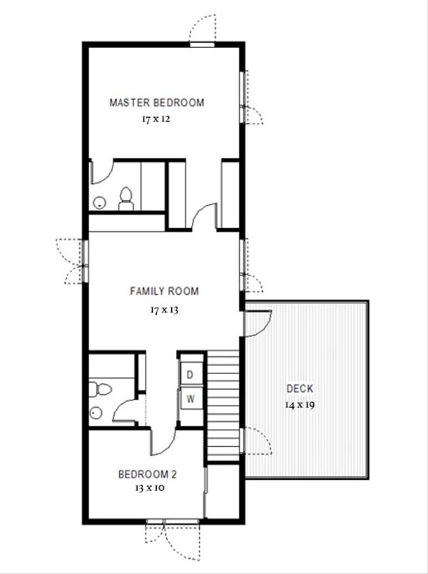 Modern Floor Plan - Upper Floor Plan Plan #497-58