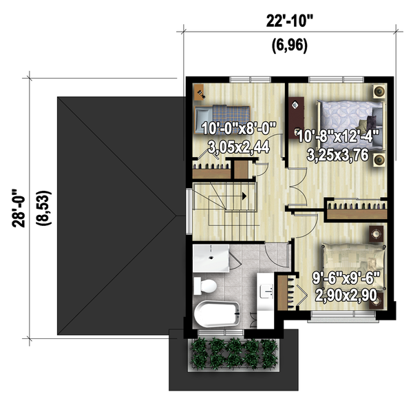 Contemporary Floor Plan - Upper Floor Plan Plan #25-4572