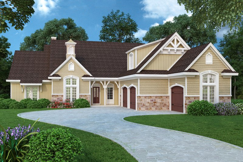 House Plan Design - Country design with Craftsman details, elevation