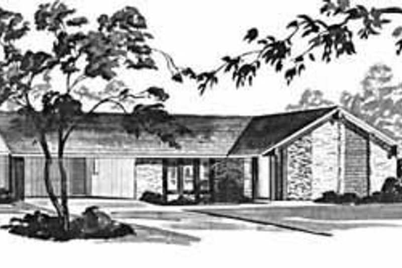 Ranch Style House Plan - 3 Beds 2 Baths 1394 Sq/Ft Plan #36-361 Exterior - Front Elevation