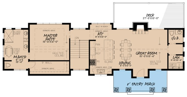 Farmhouse Floor Plan - Main Floor Plan Plan #923-63