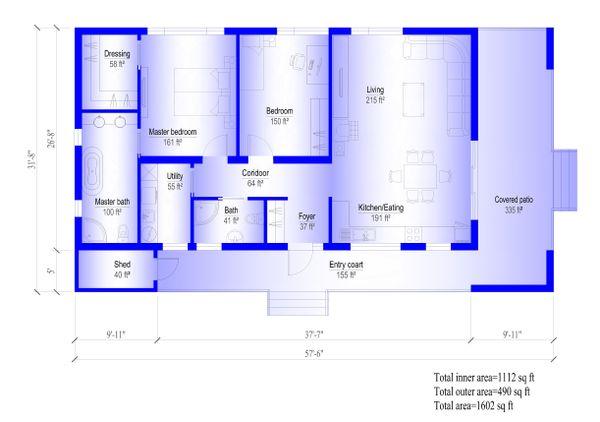 Modern Style House Plan - 2 Beds 2 Baths 1072 Sq/Ft Plan #549-19 Floor Plan - Main Floor Plan