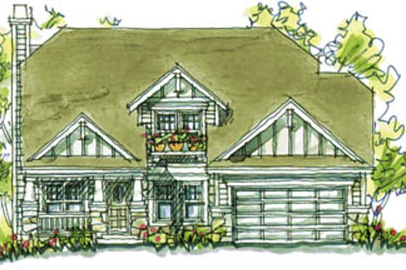 Craftsman Exterior - Front Elevation Plan #20-2038