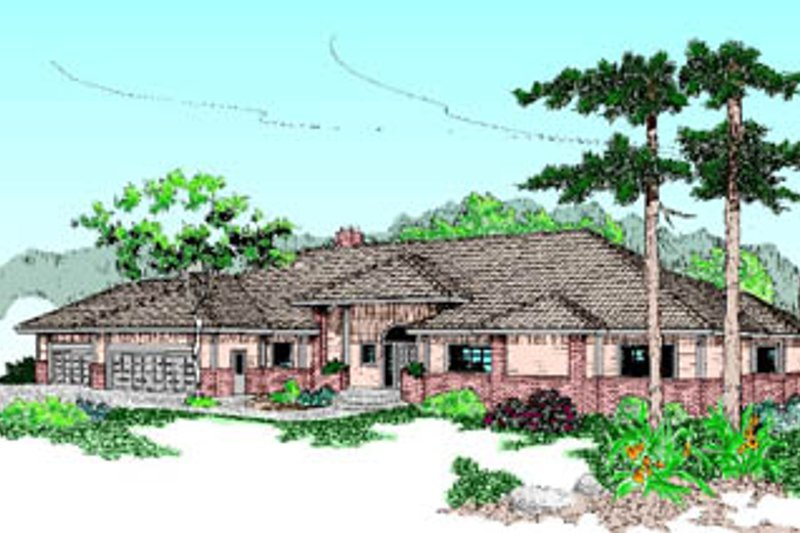 Traditional Style House Plan - 4 Beds 3.5 Baths 3123 Sq/Ft Plan #60-178 Exterior - Front Elevation