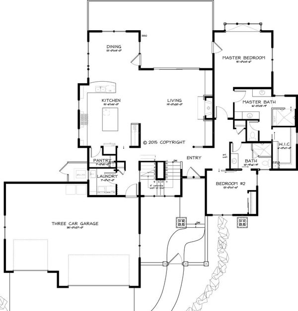 Traditional Style House Plan - 4 Beds 3 Baths 3070 Sq/Ft Plan #895-43 Floor Plan - Main Floor Plan