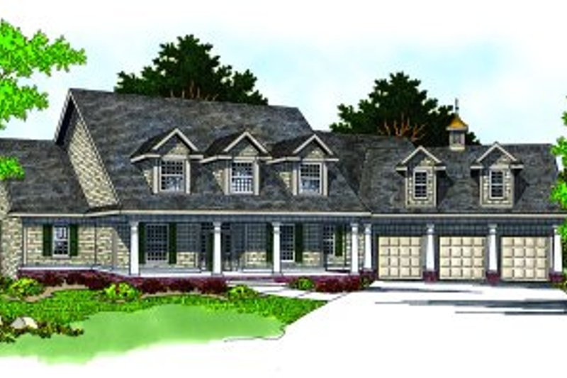 Farmhouse Style House Plan - 4 Beds 3.5 Baths 3495 Sq/Ft Plan #70-538 Exterior - Front Elevation