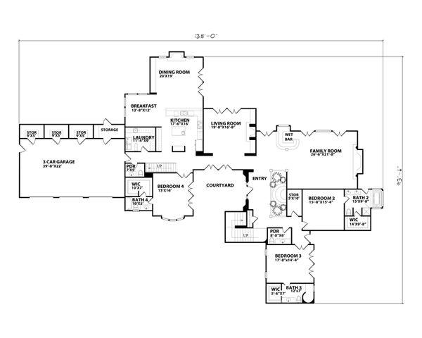 Mediterranean Floor Plan - Main Floor Plan Plan #515-26