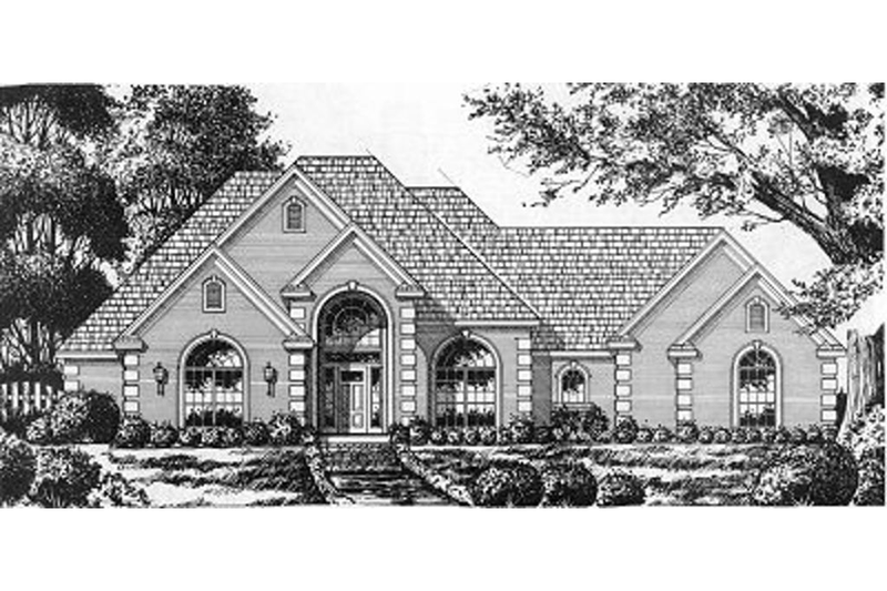 European Exterior - Front Elevation Plan #40-389