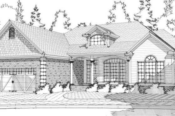 Traditional Exterior - Front Elevation Plan #63-195