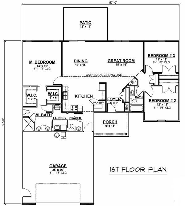 Ranch Floor Plan - Main Floor Plan #1064-21