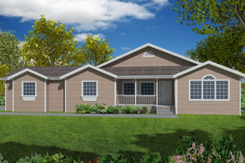 Ranch Exterior - Front Elevation Plan #437-23