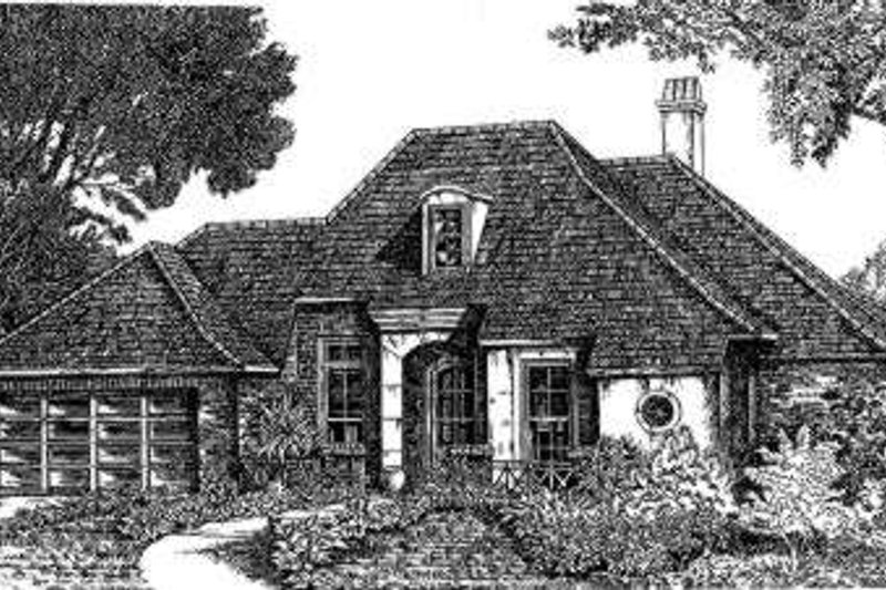 Architectural House Design - European Exterior - Front Elevation Plan #301-101