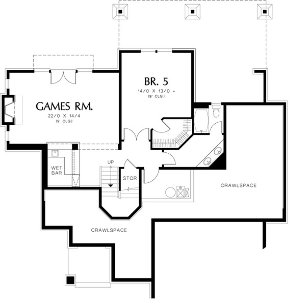 Lower  level floor plan - 4000 square foot Craftsman home