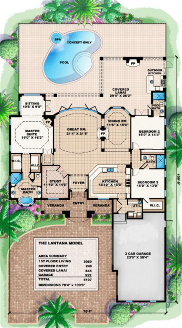 Mediterranean Floor Plan - Main Floor Plan Plan #27-405