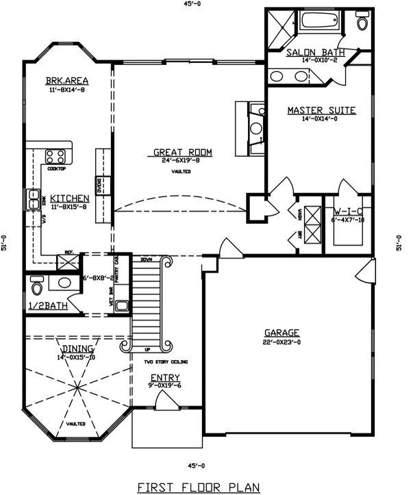 Dream House Plan - Mediterranean Floor Plan - Main Floor Plan #405-342