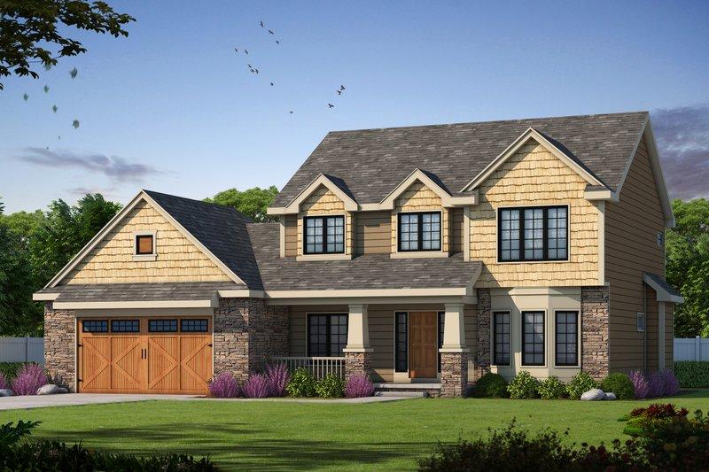 Architectural House Design - Craftsman Exterior - Front Elevation Plan #20-2416