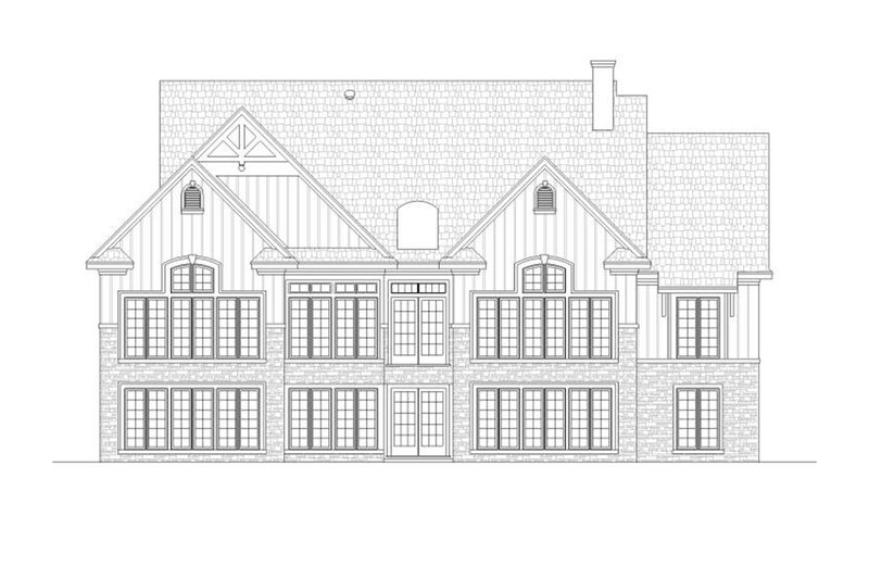 Country design with Craftsman details, rear elevation