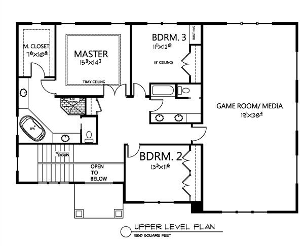 Traditional Floor Plan - Upper Floor Plan Plan #133-108