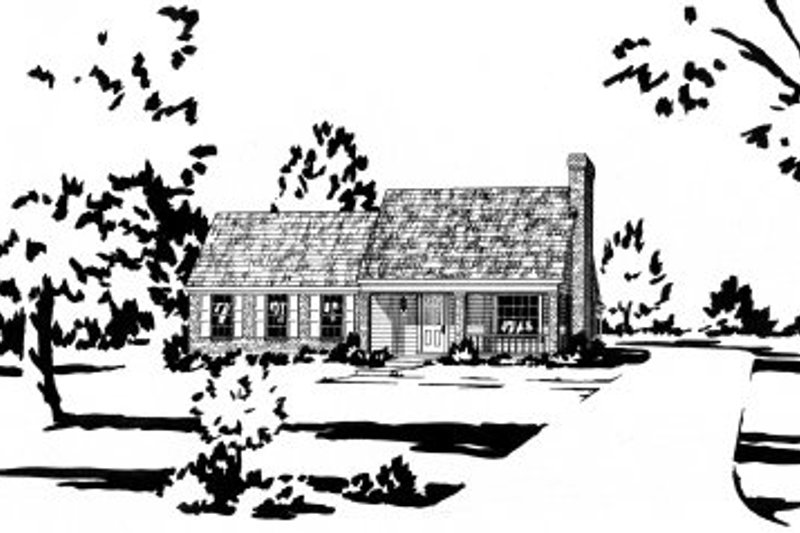 Cottage Style House Plan - 3 Beds 2 Baths 1157 Sq/Ft Plan #36-264 Exterior - Front Elevation