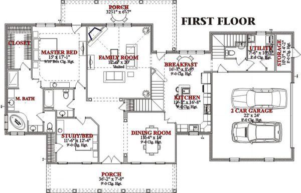 Country Floor Plan - Main Floor Plan Plan #63-210