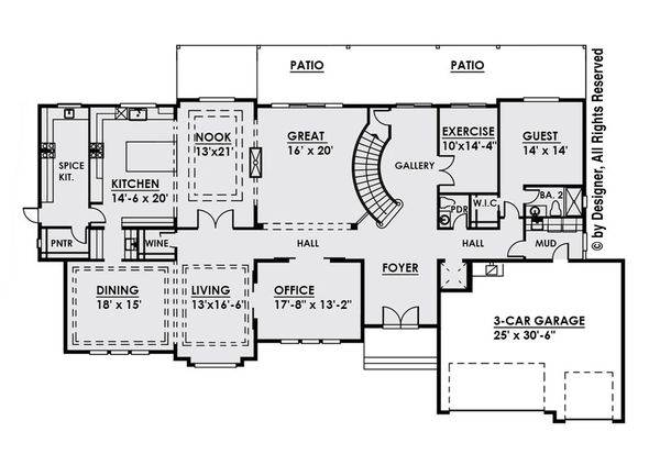 Contemporary Floor Plan - Main Floor Plan Plan #1066-30