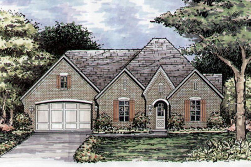European Style House Plan - 3 Beds 3 Baths 2291 Sq/Ft Plan #141-368 Exterior - Front Elevation