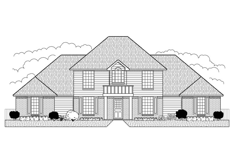 Colonial Style House Plan - 4 Beds 4 Baths 2678 Sq/Ft Plan #65-250 Exterior - Front Elevation