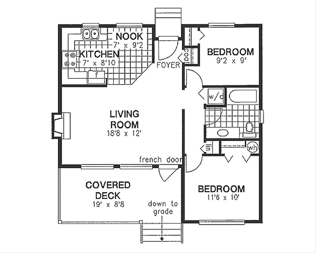 Cabin style house plan 2 beds 1 baths 799 sq ft plan 18 for 162 plan