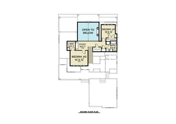 Craftsman Floor Plan - Upper Floor Plan Plan #1070-105