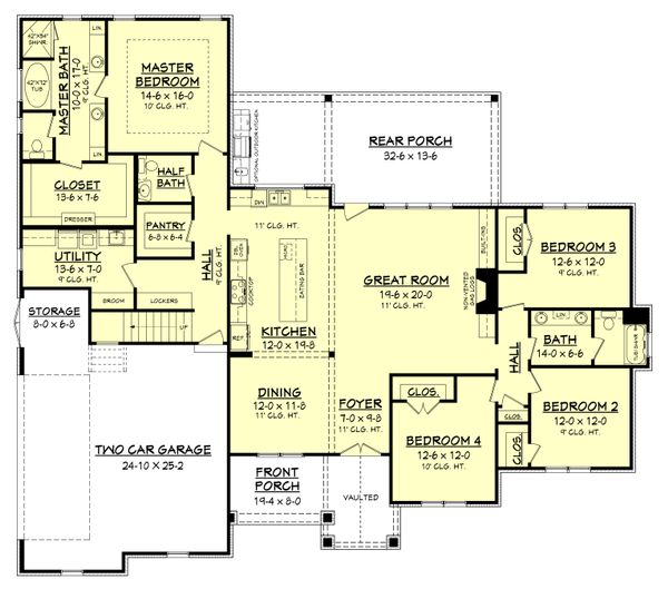 Craftsman Style House Plan - 4 Beds 2.5 Baths 2589 Sq/Ft Plan #430-170 Floor Plan - Main Floor Plan