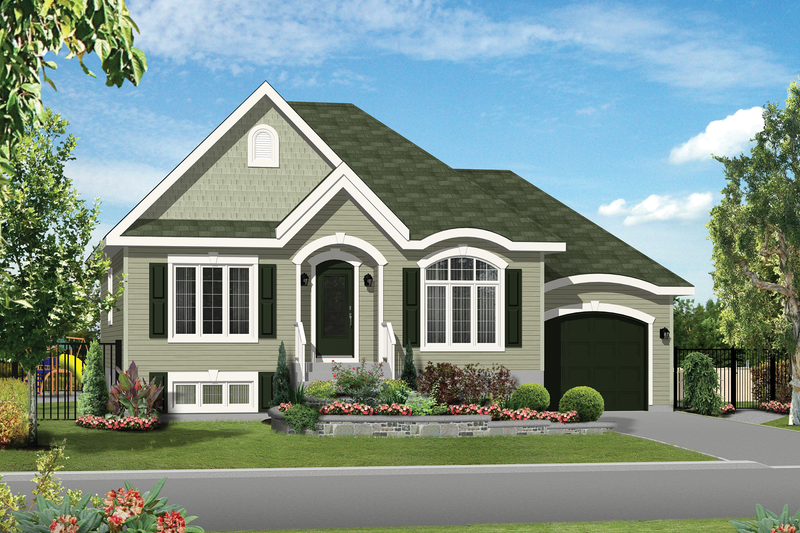European Style House Plan - 3 Beds 1 Baths 1251 Sq/Ft Plan #25-4550 Exterior - Front Elevation