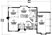 Traditional Style House Plan - 3 Beds 1 Baths 1280 Sq/Ft Plan #25-4670 Floor Plan - Main Floor Plan