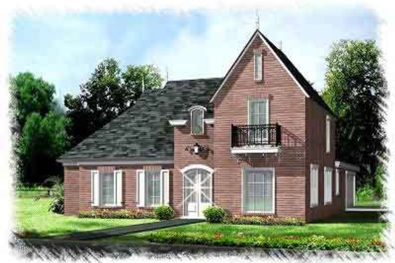 European Exterior - Front Elevation Plan #15-275