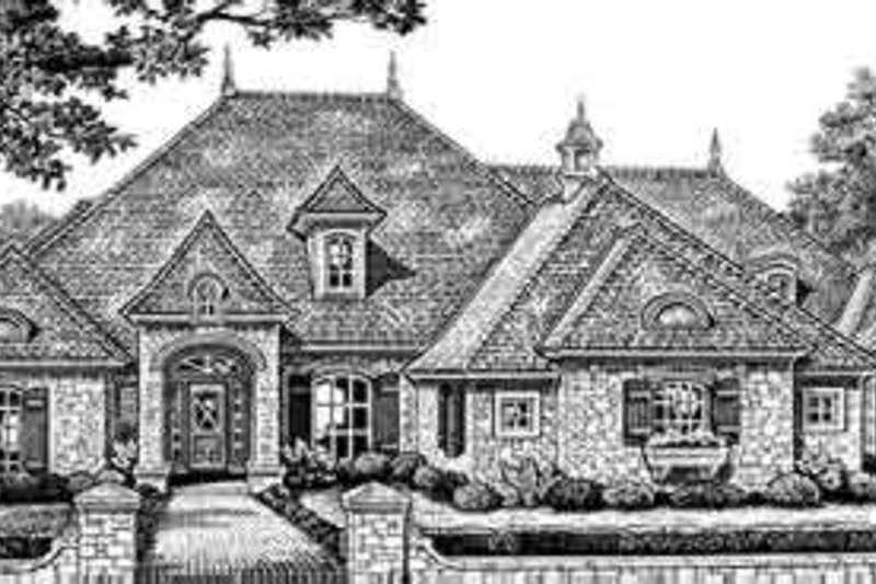 European Style House Plan - 4 Beds 3.5 Baths 2760 Sq/Ft Plan #310-276 Exterior - Front Elevation