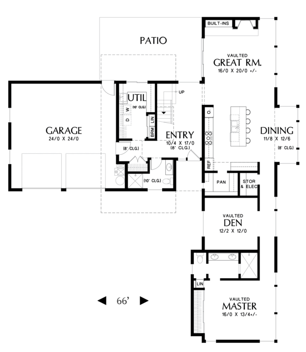 Contemporary Floor Plan - Main Floor Plan Plan #48-693