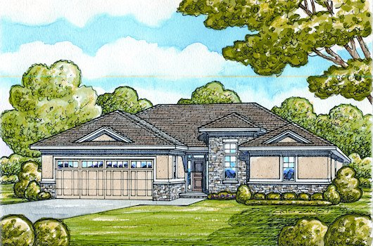 European Style House Plan - 2 Beds 2 Baths 1436 Sq/Ft Plan #20-2068 Exterior - Front Elevation